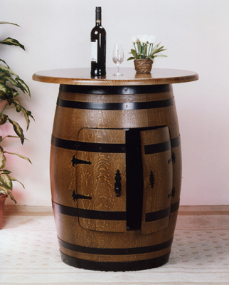 Barril bar para botellas con tapa for Bar barril de madera
